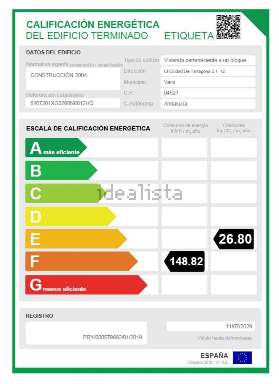 Imagen Certificación energética de piso en avenida Ciudad de Tarragona, 2, Vera Playa Naturista, Vera