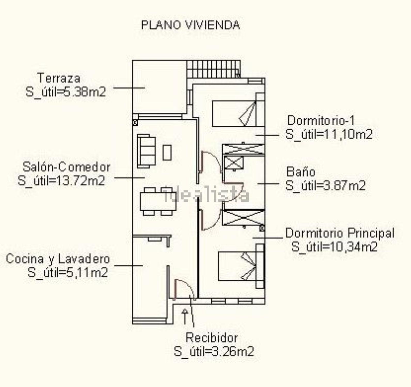 Imagen Plano de dúplex en travesía el Secano, 129, Palomares