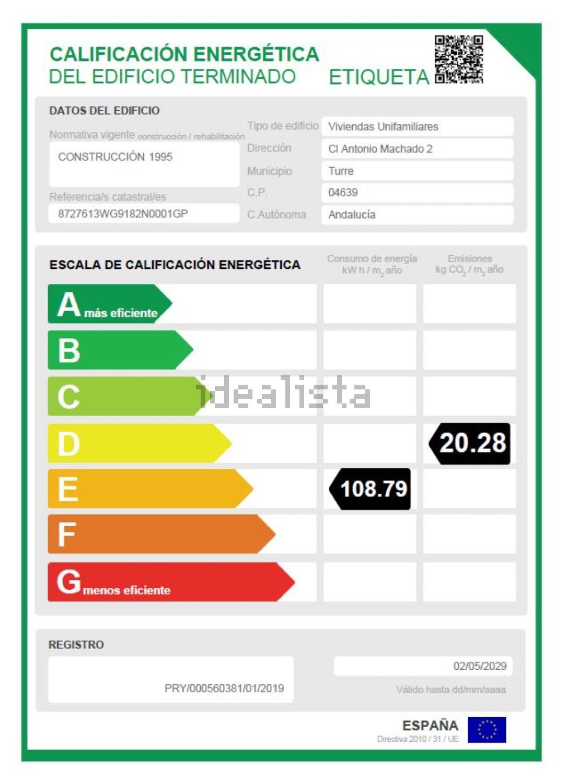 Imagen Certificación energética de  chalet adosado en calle Antonio Machado, 2, Turre