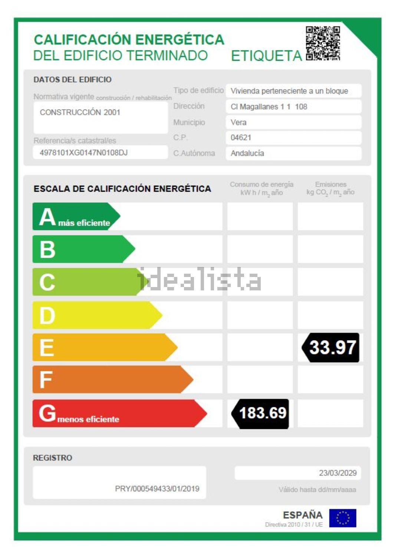 Imagen Certificación energética de ático en calle Magallanes, 190, Las Marinas, Vera