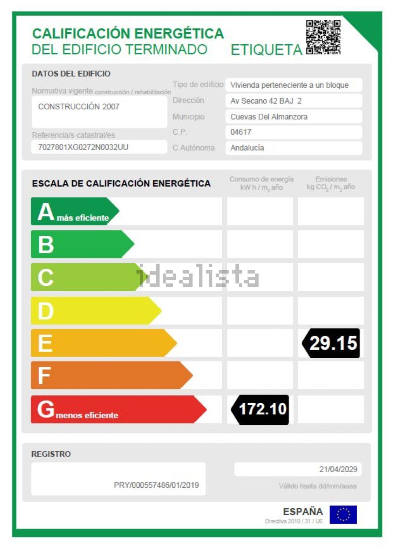 Imagen Certificación energética de dúplex en travesía el Secano, 129, Palomares