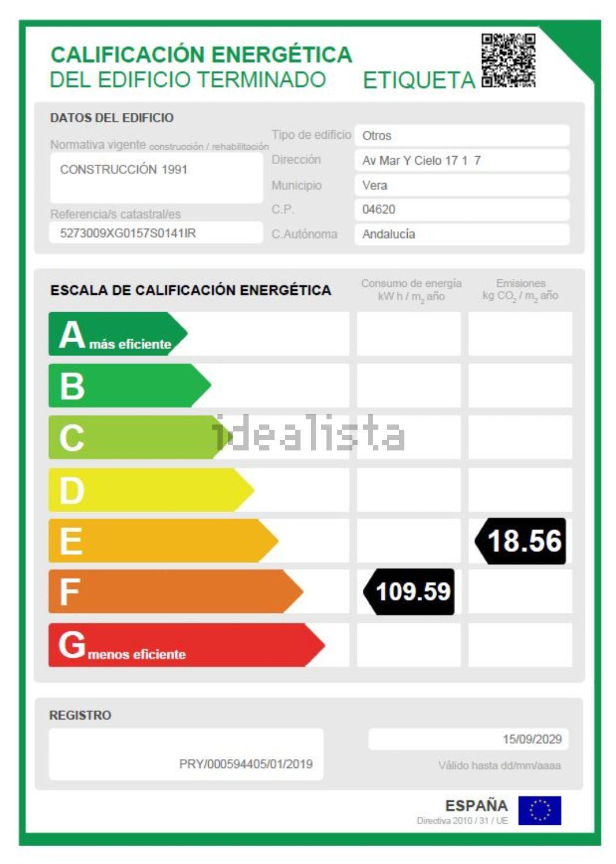 Imagen Certificación energética de local en paseo Marítimo, 247, Las Marinas, Vera
